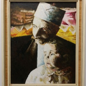 OLD PAINTING - FATHER & CHILD