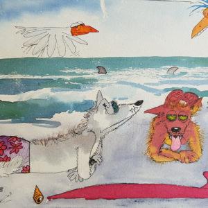 CATHY DEE – SURFER DOGS ORIGINAL WATERCOLOUR